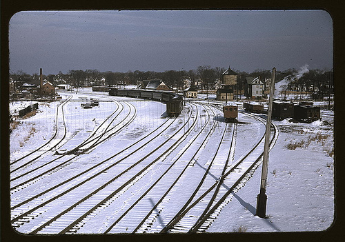Train and several sets of railroad tracks